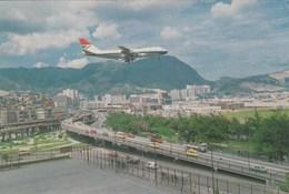 AEROPORTO-AEROPORT-AIRPORT-FLUGHAFEN-AERODROM-LAITAK AIRPORT-KOWLOON CITY-HONG KONG--CARTOLINA VIAGGIATA NEL 1986 - Aerodromi