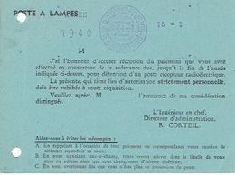 RADIODIFFUSION - REDEVANCES-Redevance ANNEE 1940 Pour La Détention D'un POSTE A LAMPES (poste Récepteur Radioélectrique) - Cartes Postales