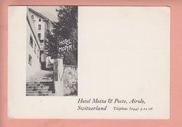 OUDE  POSTKAART ZWITSERLAND - SCHWEIZ - SVIZZERA - HOTEL MOTTA POST - AIROLO - TI Ticino