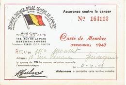 Carte De Membre De 1947 - SECURITE SOCIALE BELGE CONTRE LE CANCER - BERCHEM - ANTWERPEN - Cartes Postales
