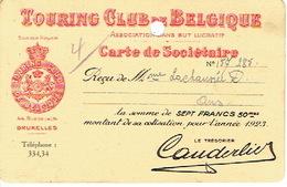 Carte De Sociétaire De 1923 - TOURING CLUB DE BELGIQUE - Voitures De Tourisme