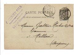 ENTIER SAGE DE CARCASSONNE 1893 - Marcofilia (sobres)