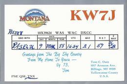 US.- QSL KAART. CARD. KW7J. TOM C. OSEN, BILLINGS, MONTANA, YELLOWSTONE COUNTY, U.S.A.. - Radio-amateur