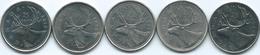 Canada - 25 Cents - 1979 (KM74) 1990 (KM184) 2003 (KM184b) 2005 & 2017 (KM493 - With/Without Mintmark) - Canada