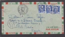 LETTRE DE BRIVE LA GAILLARDE POUR PORT SAÏD,PLUSIEURS CACHETS AU VERSO. - France