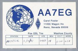 US.- QSL KAART. CARD. AA7EG. CAROL FOSTER, RENO, NEVADA, WASHOE COUNTY, U.S.A.. ARRL. - Radio-amateur