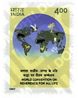 Ref. 41278 * MNH * - INDIA. 1997. WORLD CONVENTION FOR THE  RESPECT OF LIFE . CONVENCION MUNDIAL SOBRE EL RESPETO A LA V - India