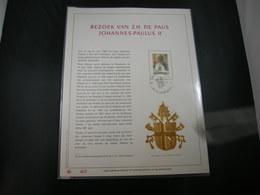 "BELG.1985 2166 FDC (Bruxs) Filatelic Gold Card NL. : "" BEZOEK VAN Z.H  PAUS JOHANNES-PAULUS II "" - 1981-90"