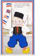 AL03 Children - Dutch Boy Smoking A Pipe - Sailing Boats, Artist Drawn - Children's Drawings