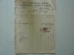 """Fattura """"Premiato Stabilimento Industriale E Commerciale LEOPOLDO CIOFI E FIGLI"""" 1909 - Italia"""