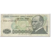 Billet, Turquie, 10 Lira, 1979, Old Date 1970-10-14, KM:192, TB - Turquie