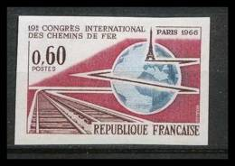 France N°1488 Chemins De Fer à Paris Train 1966 Non Dentelé ** MNH (Imperforate) - Treni