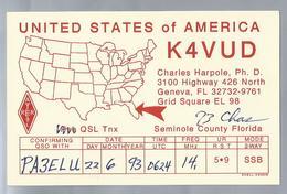 US.- QSL KAART. CARD. K4VUD. CHARLES HARPOLE, Ph. D.. GENEVA, FLORIDA, SEMINOLE COUNTY FLORIDA, U.S.A.. ARRL. - Radio-amateur