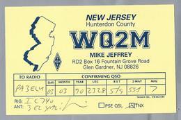 US.- QSL KAART. CARD. WQ2M. MIKE JEFFREY, GLEN GARDNER, NEW JERSEY, HUNTERDON COUNTY  U.S.A.. ARRL. - Radio-amateur