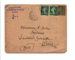 AFFRANCHISSEMENT COMPOSE SUR LETTRE DE SAINT JULIEN EN SAINT ALBAN ARDECHE 1920 - Marcophilie (Lettres)
