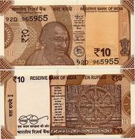 INDIA       10 Rupees       P-109       2018       UNC  [ Sign. Patel - Letter A ] - India