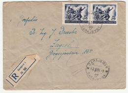 Yugoslavia Letter Cover Travelled Registered 1951 Sarajevo To Zagreb B190720 - 1945-1992 Socialist Federal Republic Of Yugoslavia