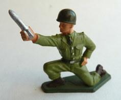 SOLDAT FIGURINE FIG STARLUX 1958 SERVANT MORTIER  5007 Socle Vert Kaki (2) - Starlux