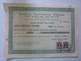 "Ricevuta ""SOCIETA' TELEFONICA TIRRENA"" 1951 - Italia"