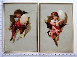 2 CHROMOS    LITHOGRAPHIES....ŒUF PORTE PAR UN ENFANT QUI CRÈVE UN PAPIER - Autres