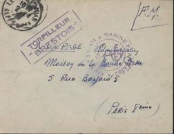 Guerre 39 45 Cachet Ancre Marine Française Service à La Mer FM + Torpilleur Brestois CAD Le Gold Juan 2 4 39 - Guerra Del 1939-45