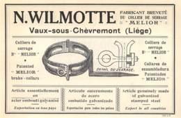 1927 - VAUX-sous-CHEVREMONT - Fabrique De Colliers De Serrage - N. WILMOTTE - Dim. 1/2 A4 - Publicités