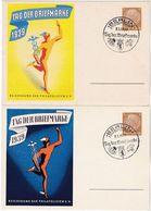 Deutsches Reich 1939: Postkarte P239/01+02 (gelb & Blau) TAG DER BRIEFMARKE 1939 Mit O °BERLIN° FAHRB.POSTAMT 8.1.1939 - Tag Der Briefmarke