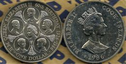 COOK ISLANDS $1 QUEEN 60TH BIRTHDAY ROYAL FAMILY FRONT QEII HEAD BACK 1986 UNC READ DESCRIPTION CAREFULLY!!! - Cookinseln
