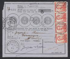 Pellens - 10ctm En Bande De 4 Sur Bon De Poste D'une Valeur De 5Fr De Bruxelles 1 (1914) Vers Tervuren - 1912 Pellens