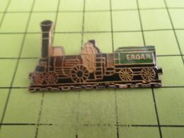 1417 Pin's Pins / Beau Et Rare : THEME : TRANSPORTS / TRAIN A VAPEUR LOCOMOTIVE AVEC TENDER A CHARBON EROAR - Transports