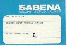 Etiquette D'identification Des Bagages - SABENA - Baggage Labels & Tags