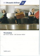 SN Brussels Airlines - Timetable 2004 - Timetables