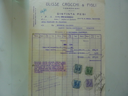 "Ricevuta ""ULISSE CROCCHI & FIGLI TORRENIERI - DISTINTA PESI"" 1941 - Italy"