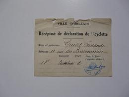 VIEUX PAPIERS - RECEPISSE DE DECLARATION DE BICYCLETTE - Ville D'0rléans - Altri