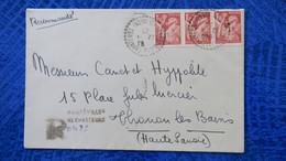 Lettre Recommandé Provisoire De Harréville Les Chanteurs Haute Marne  1945 Poutr Thonon Les Bains - Marcophilie (Lettres)
