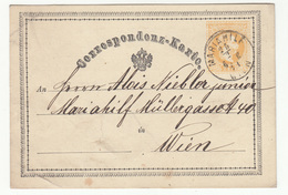 Austria Postal Stationery Postcard Correspondenz-Karte Travelled 1871 Mariahilf To Wien B190720 - Ganzsachen