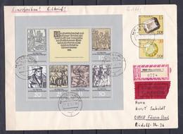DDR - 1975 - Michel Nr. 2013/2018 +2007/08 - Kleinbogen - Einschreiben - Eilbrief - Mausewitz/Füssen - Ankunftsstempel - DDR