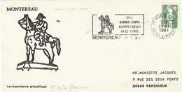 """Lettre De """"Montereau"""" (Seine-et-Marne, 77) Du 21-01-1991, """"150e Foire-expo"""" Cheval, Napoléon En FD (Marianne Roulette) - Marcophilie (Lettres)"""