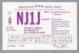 US.- QSL KAART. CARD. NJ1J. ARTHUR A. POULIS, FALL RIVER, MASSACHUSETTS, BRISTOL COUNTY  U.S.A.. ARRL. - Radio-amateur