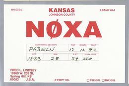 US.- QSL KAART. CARD. NØXA. FRED L. LINDSEY, SPRING HILL, KANSAS, JOHNSON COUNTY  U.S.A.. - Radio-amateur