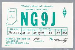 US.- QSL KAART. CARD. NG9J. MARTIN A. CHITTUM, SR., TIPTON, INDIANA, TIPTON COUNTY  U.S.A.. ARRL. - Radio-amateur