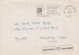 """Lettre De """"Toulon Liberté"""" (Var, 83) Du 18-09-1995, """"La Passion Bleu Marine"""" En Fausse Direction - Oblitérations Mécaniques (flammes)"""