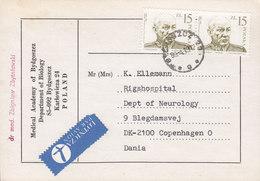 Poland LOTNICZA Par Avion Label MEDICAL ACADEMY Department Of Biology BYDGOSZCZ 1988 COPENHAGEN Denmark - 1944-.... Republik