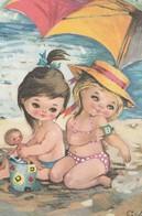 Illustrateur: GABY: Deux Fillettes à La Plage Sous Un Parasol, L'une Avec Une Poupée, L'autre Mettant De L'Huile Solaire - Illustrators & Photographers