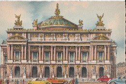 Barré & Dayez. Illustrateurs: Signé Barday: PARIS (75009) L'Opéra, Voitures Anciennes. N° 2012 J. Ecriture Noire - France