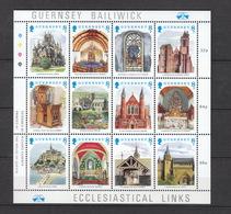 Grossbritannien Guernsey ** 436-447 Kirchliche Motive Mit Frankreich Und England Kleinbogen  Katalog 5,00 - Guernsey