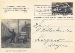 Switzerland 1947 Postal Stationery Postcard Centenary Of The Swiss Railways 10 C. From Zürich To Italy - Trains