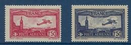"FR Aerien YT 5 & 6 (PA) "" Avion Survolant Marseille Carmin Et Bleu Foncé "" 1930 Neuf** - Posta Aerea"