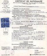 Extrait  Certificat De Nationalité, Tribunal De Quimper, 2 Timbres Fiscaux De 2.50 Francs - Non Classés