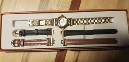Montre LIP Quartz Vintage Avec 2 Bracelets Cuir De Rechange Dans Boite D'origine - Montres Anciennes